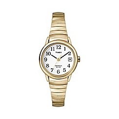 Timex - Ladies easy reader white dial with gold expansion band watch