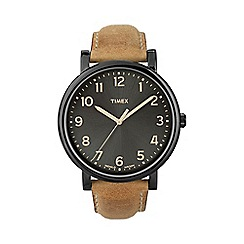 Timex - Men's oversized originals black dial with brown leather strap watch
