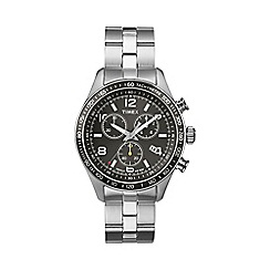 Timex - Men's chronograph black dial stainless steel bracelet watch