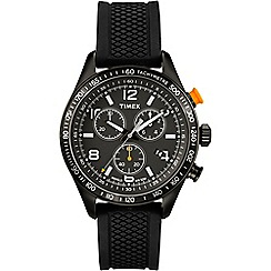 Timex - Men's chronograph black dial with black silicone strap watch