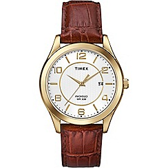 Timex - Men's white dial with brown leather strap watch