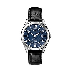 Timex - Men's blue dial with blue leather strap t2p451