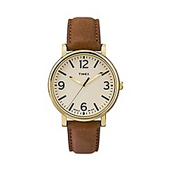 Timex - Men's oversized original brown leather strap watch t2p527