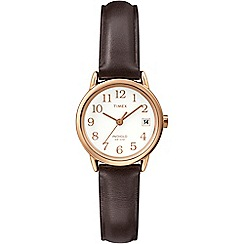 Timex - Ladies easy reader with dark brown leather strap