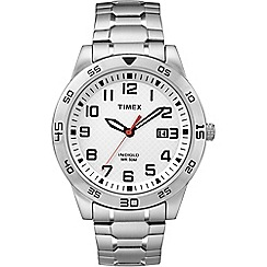 Timex - Men's white dial with stainless steel bracelet