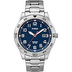 Timex - Mens blue stainless steel bracelet watch