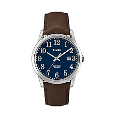 Timex - Men's easy reader blue dial with brown leather strap watch