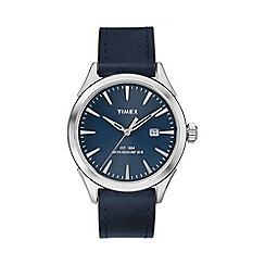 Timex - Men's blue dial date with blue leather strap watch