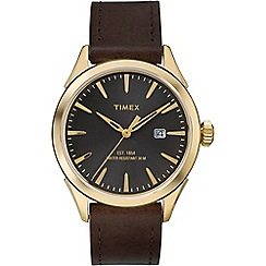 Timex - Men's brown dial with brown leather strap watch