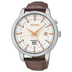 Seiko - Mens 'Kinetic GMT' silver strap watch