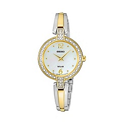 Seiko - Womens solar crystal two tone bracelet watch sup288p9
