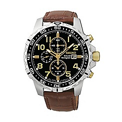 Seiko - Men's solar chronograph silver strap watch