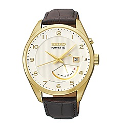 Seiko - Men's kinetic retrograde gold strap watch