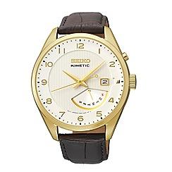 Seiko - Men's kinetic retrograde gold strap watch