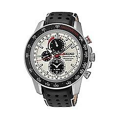 Seiko - Men's 'Sportura' solar perpetual silver strap watch ssc359p1