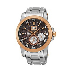 Seiko - Men's 'Premier' kinetic perpetual silver bracelet watch