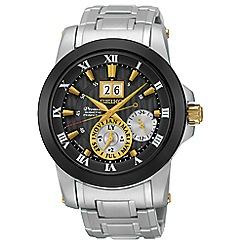 Seiko - Men's 'Premier' kinetic perpetual silver bracelet watch