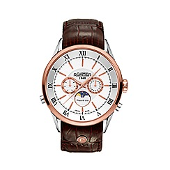 Roamer - Men's superior moonphase leather strap watch