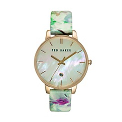 Ted Baker - Ladies Mother Of Pearl floral leather watch