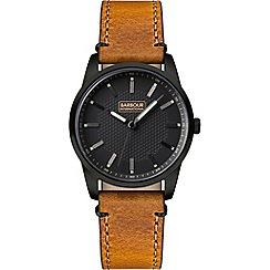 Barbour - Men's 'Jarrow' tan leather strap watch