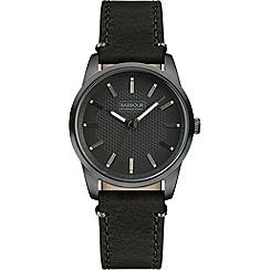 Barbour - Men's 'Jarrow' black leather strap watch