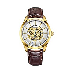 Rotary - Men's gold 'Skeleton' brown leather watch