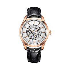 Rotary - Men's rose gold 'Skeleton' black leather watch
