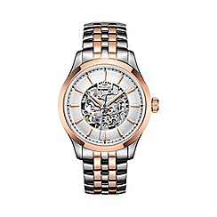 Rotary - Men's two tone rose gold 'Skeleton' watch