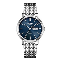 Rotary - Men's silver and blue dial watch