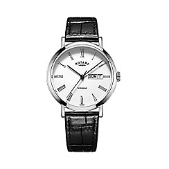 Rotary - Men's silver and black leather watch