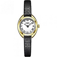 Rotary - Ladies gold and black leather stone set watch ls05015/11