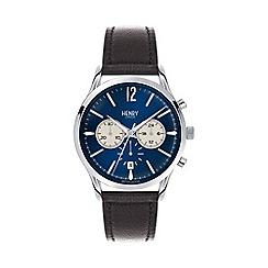 Henry London - Men's 'Knightsbridge' black leather watch