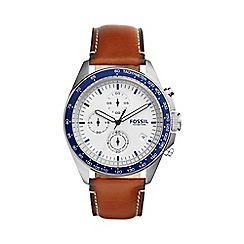 Fossil - Men's brown leather 'Sport 54' watch