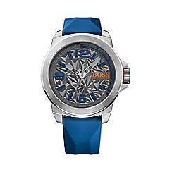Boss Orange - Men's blue textured dial silicone strap watch