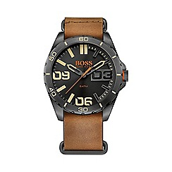 Boss Orange - Men's brown nato leather watch