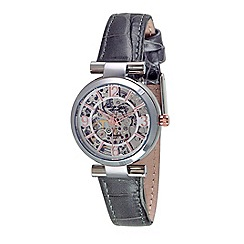 Kenneth Cole - Ladies silver grey leather strap watch