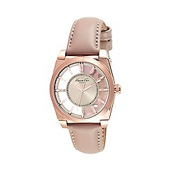 Kenneth Cole - Ladies transparent dial tan leather watch