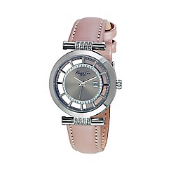Kenneth Cole - Ladies silver transparent dial tan leather watch