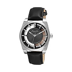 Kenneth Cole - Men's silver transparent black leather watch
