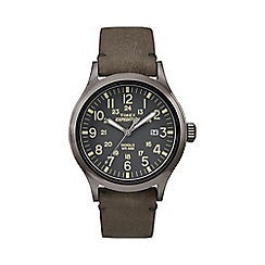 Timex - Men's grey 'Expedition Scout' leather strap watch
