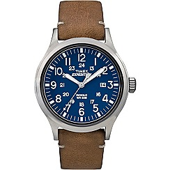 Timex - Men's blue 'Expedition Scout' leather strap watch