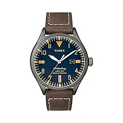 Timex - Men's blue 'Waterbury' brown leather strap watch