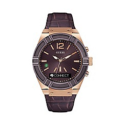 Guess - Gents brown 'Connect' leather Smartwatch