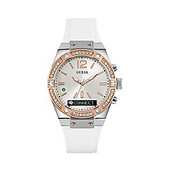 Guess - Ladies white crystal 'Connect' Smartwatch