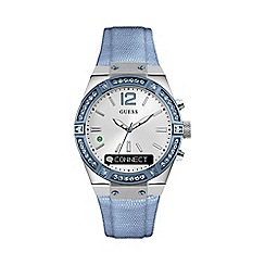 Guess - Ladies sky blue crystal 'Connect' leather Smartwatch