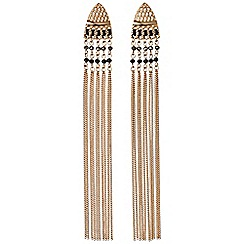 Pilgrim - Rose Gold Color with black beads statement earrings