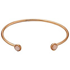 Pilgrim - Rose Gold Color bezel set rose quartz bracelet