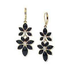 Anne Klein - Black and gold flower drop earrings