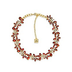 Anne Klein - Red and gold flower collar necklace