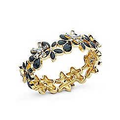 Anne Klein - Black and gold flower strecth bracelet